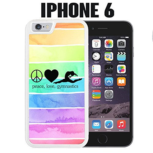 iPhone Case Hipster Peace Love Gymnastics Gymnast Quote for iPhone 6 Rubber White