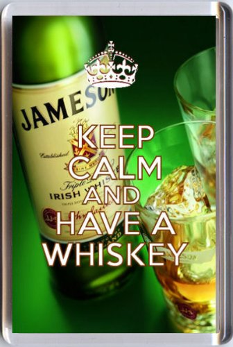 keep-calm-and-have-a-whiskey-fridge-magnet-printed-on-an-image-of-a-bottle-of-jamesons-and-two-glass