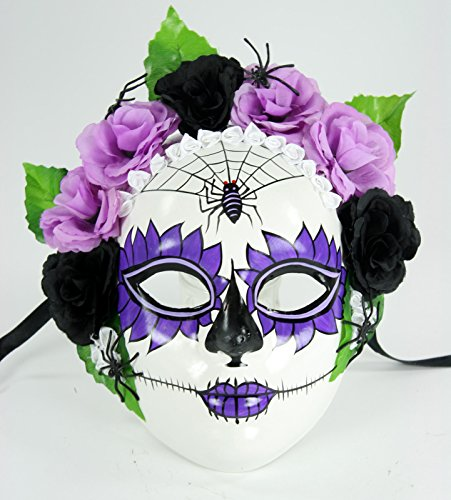Bauer Women's Day of the Dead Dia de los Muertos Mask Purple and White