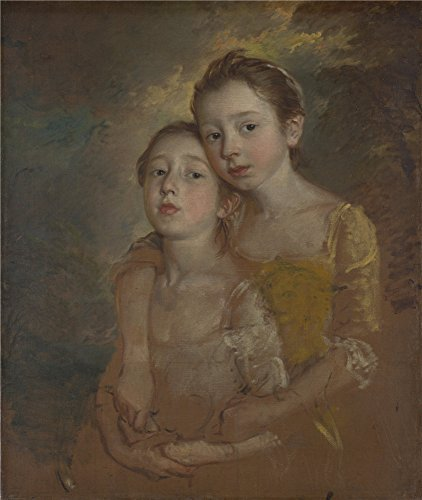The polyster Canvas of oil painting 'Thomas Gainsborough The Painter's Daughters with a Cat ' ,size: 24 x 28 inch / 61 x 72 cm ,this Reproductions Art Decorative Prints on Canvas is fit for Hallway gallery art and Home gallery art and Gifts