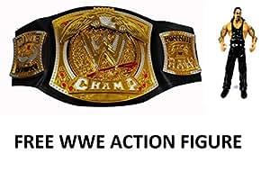 Sunshine WWE Championship Belt with Spinning WWE Symbol and Adjustable Waist + FREE WWE ACTION FIGURE