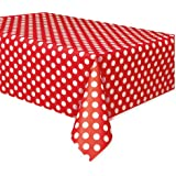 """Red Plastic Polka Dot Table Cover, 54"""" x 108"""""""