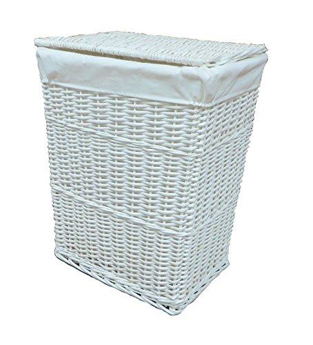 Arpan Medium White White Wicker Washing Cloth Basket With White Lining by ARPAN