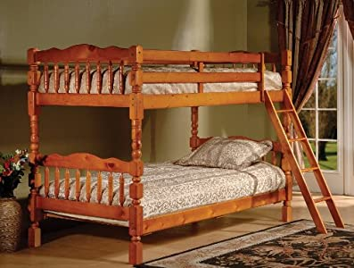 Sale honey finish wood spindle post design twin size for 2 twin beds for sale
