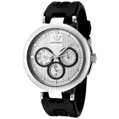 Emporio Armani Women's AR0735 Silver Textured Dial Black Rubber Watch