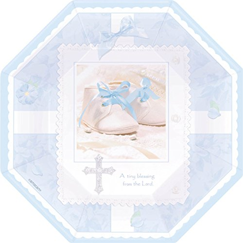 "Tiny Blessing Blue 10"" Octagonal Dinner Plates (8 count) - 1"