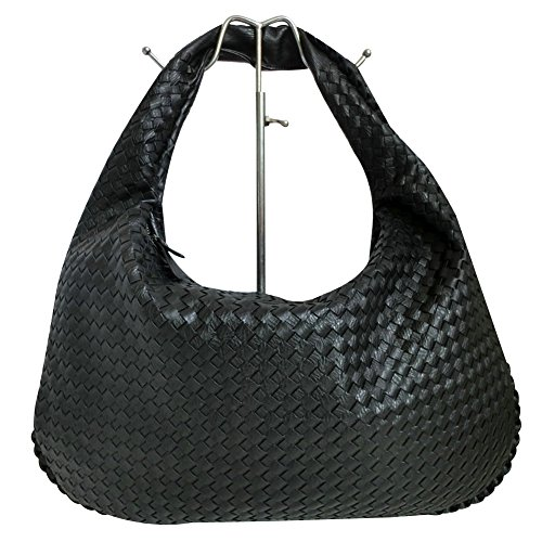 ILISHOP Hot Sale Women's Classic Italian Intricate Woven Large Flat Hobo Handbag Shoulder Bag (Black) (Leather Italian Handbags compare prices)