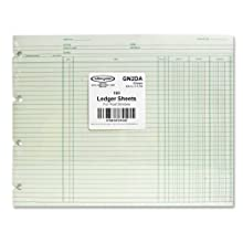 "Wilson Jones GN2DA Green End-Balance Ledger Form Paper, Both Sides Alike, Punched for Post Binders, 9-1/4"" X 11-7/8"", 100 Sheets/Pack"
