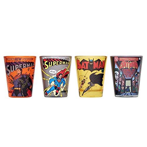 DC Comics DC031SG1 4 Piece Batman & Superman Comic Covers Mini Glass Set, 1 oz, Multicolor