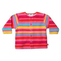 Zutano Baby Girls\' Fleece Bold Stripe Jacket, Fuchsia, 18 Months