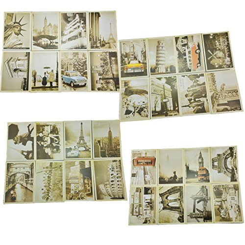 yueton 32 PCS 1 Set Retro Old Travel Postcards Vintage Landscape Photo Picture Poster Post Cards for Collecting (World Postcards compare prices)