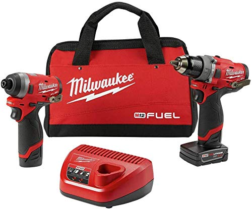 Milwaukee Electric Tools 2598-22 M12 Fuel 2 Pc Kit- 1/2 Hammer Drill & 1/4 Impact (Color: 2598-22_Unit)