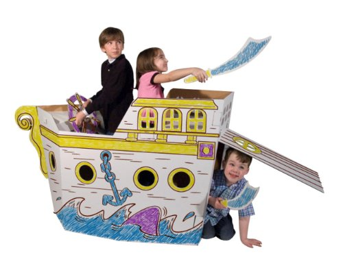 Pirate Ship Cardboard Playhouse with Markers Included