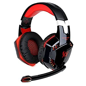 EasySMX Comfortable LED 3.5mm Stereo Gaming LED Lighting Over-Ear Headphone Headset Headband with Mic for PC Computer Game With Noise Cancelling & Volume Control (Black with Red).