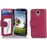 Cadorabo ! PREMIUM - Book Style Hülle im Portemonnaie Design für Samsung Galaxy S4 (GT-i9500 / GT-i9505 LTE) mit Spiegel und Kartenfächer in HOT-PINK