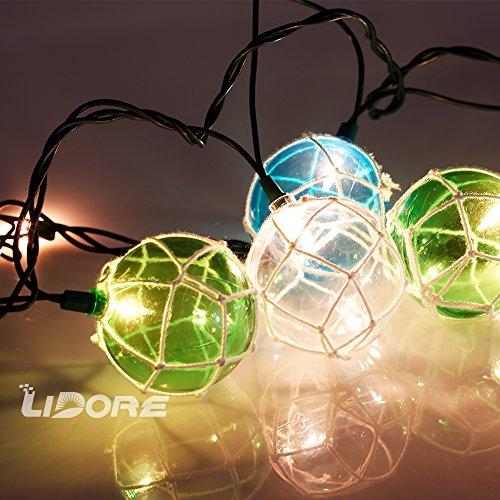 LIDORE Set of 10 Nautical Fishing Floats Coastal Buoy Beach Style String Lights Set. Warm White ...