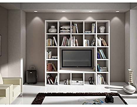 Parete libreria in frassino Bianco L218 P30 H218