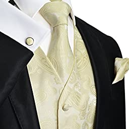 Paul Malone Wedding Vest Set Cream 5pcs Tuxedo Vest + Necktie + Ascot + Hanky + 2 Cufflinks XXXL