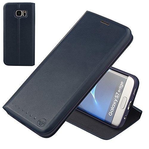 Nouske Custodia a portafoglio per Samsung Galaxy S7 Edge/Guscio antiurto in TPU/Porta carta di credito/Funzione di supporto/Design semplice e supersottile/Chiusura maghetica,blu marino