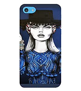 PrintVisa APPITOUCH6-Beautiful Girl Art Plastic Back Cover for Apple iPod Touch 6 (Blue)