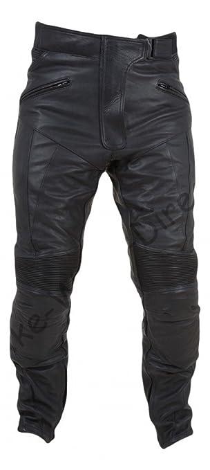 Femmes qualité Pantalon noir de moto en cuir avec protection CE