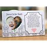 I Thought of You with Love Today Ceramic Memorial Picture Frame - Beautiful Tribute to the Loss of a Loved One - Traditional Design Goes with Any Decor - Great As a Keepsake Plaque - Bereavement Gift - Sympathy - Condolence - in Loving Memory - Forever in Our Hearts Is Printed Above the Heart Shaped Photo Opening