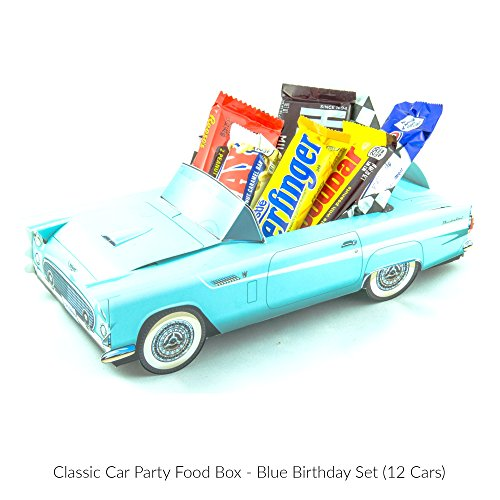 12 Classic Car Party Food Boxes - Blue Birthday Set (Classic Car Birthday compare prices)