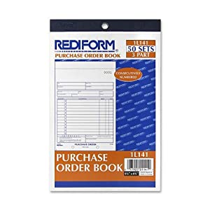 Rediform Purchase Order Book, 3 Part, Carbonless, 5.5 x 7.875 Inches, 50 Forms (1L141)