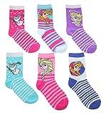 Disney Frozen Little Girls Crew Socks - 6 Pair