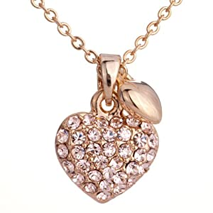 Pugster Golden Crystal Heart Little Pendant