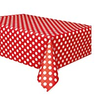 "Red Plastic Polka Dot Table Cover, 54"" x 108"""