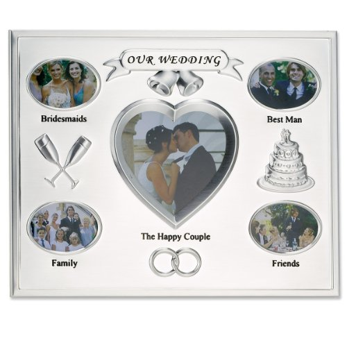Lawrence Frames Our Wedding Silver Plated 8x10 Multi Picture Frame