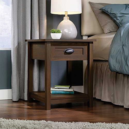 Sauder County Line 1 Drawer Nightstand - Rum Walnut, Brown, Wood back-942299