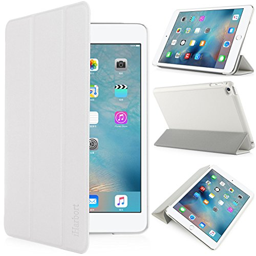iHarbort Apple iPad mini 4 Custodia - angolazioni multiple Smart Cover titolare Stand in pelle per Apple iPad mini 4, con ilsonno / sveglia funzione (iPad mini 4, blanco)
