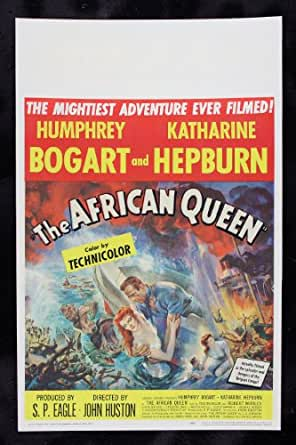 THE AFRICAN QUEEN * CineMasterpieces HUMPHREY BOGART KATHARINE HEPBURN WINDOW CARD ORIGINAL VINTAGE MOVIE POSTER 1951