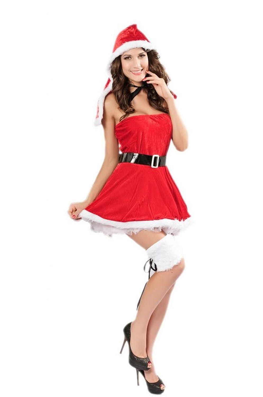Lukis Damen Cosplay Bandeau Kostüm Dessous Minikleid Babydoll Weihnachten