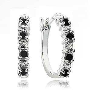 Sterling Silver Created Black Ebony Sapphire & Diamond Accent Hoop Earrings