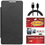 Tidel Black Durable Premium Flip Cover Case For Infocus M350 With Tidel Screen Guard & Data Cable