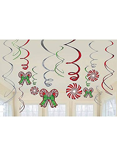 Candy Cane 6 Piece Hanging Swirls
