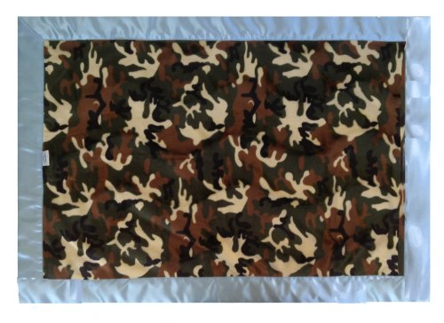 Patricia Ann Designs Satin Flat Binding Camouflage Cuddle Indulgence Blanket, Blue front-157735
