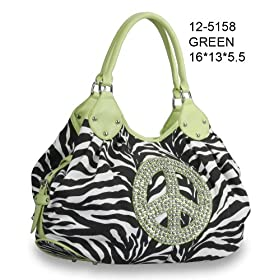 Women Handbag Purses Zebra Print Fashion New Design Hobo Tote Bag with Rhinestone Peace Sign Green Trim