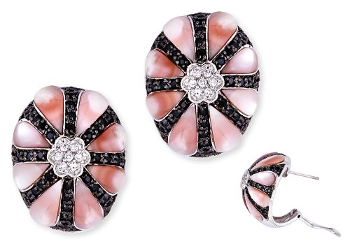 Dramatic C.Z. Black Clear Diamonds Pink Mother-Of-Pearl Flower Earrings (Nice Holiday Gift, Special Black Firday Sale)