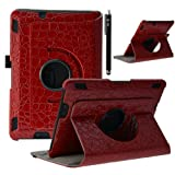 E LV Case for Kindle Fire HDX 7 - 360 rotating Lightweight Case Cover Stand for Kindle Fire HDX 7 with 1 Black Stylus(For Kindle Fire HDX 7 (2013 Release), Crocodile Red)