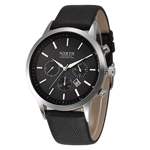 Men's Business Watch, FEITONG Sports Luxury Mens Genuine Leather Band Analog Quartz Watches Wrist Watch