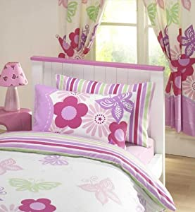 """SUNNY DAYS GIRLS LUXURY FULLY LINED CURTAINS SET 66"""" X 72"""" MATCHES DUVET - LILAC"""