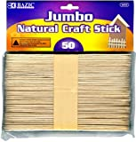BAZIC Jumbo Natural Craft Stick, Wood, 50 Per Pack