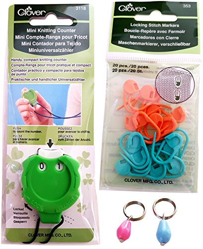 Clover Kacha-Kacha Mini Knitting Counter (with neck cord!) and Clover Locking...