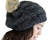 (Marib select) ケーブル編み ニット帽 ベレー帽 ポンポンはリアルラビットファー Fサイズ カラー各種 帽子 ぼうし (チャコール)