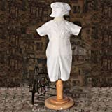 Baby Boys Size 0-3M White Silk Christening Baptism Outfit Set With Hat