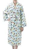 Leisureland Women's Cotton Flannel Novelty Robe Sleepy Kitty Cat Blue